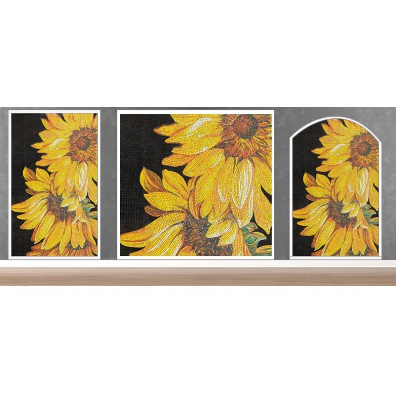 TST Mosaic Mural Sunflowers Parquet Unique Art Background Wall Decor