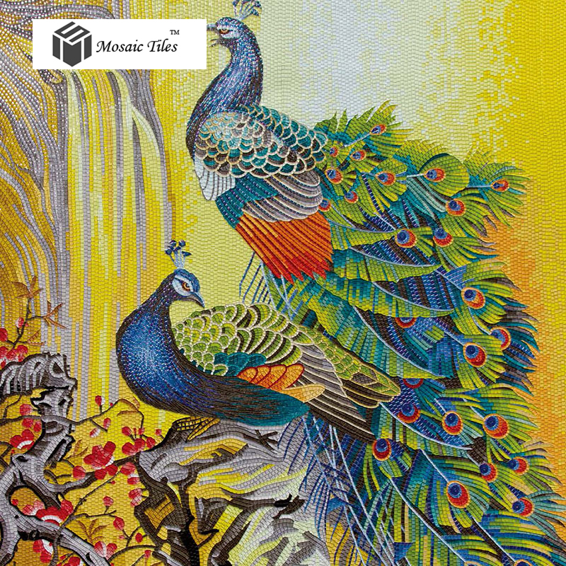 Tst mosaic mural peacock flower home hotel wall deco art for Art deco tile mural
