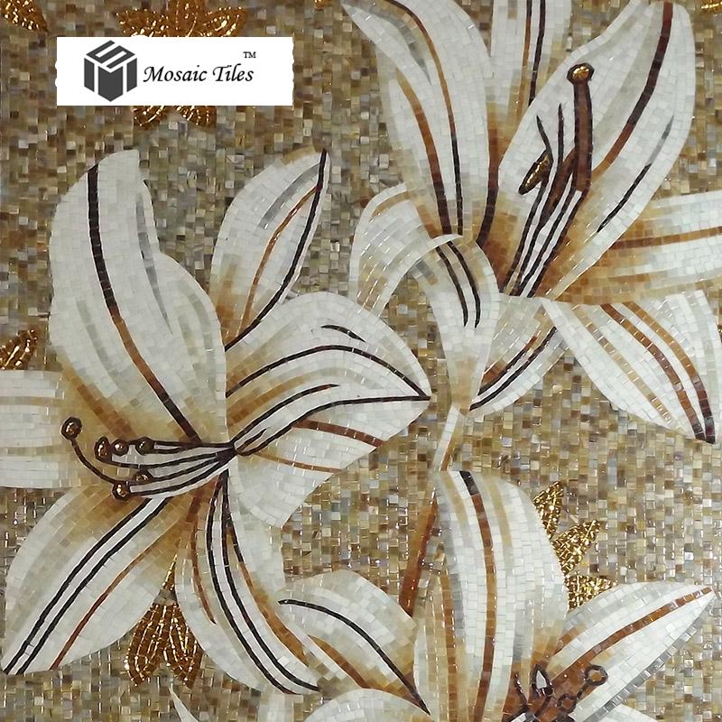 Tst Mosaic Mural White Lily Flower Parquet Customized Art Wall