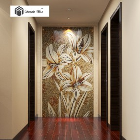TST Mosaic Mural White Lily Flower Parquet Customized Art Wall