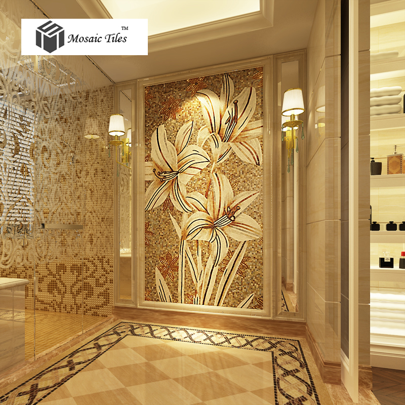 Mosaic Mural White Lily Flower Parquet Customized Art Wall