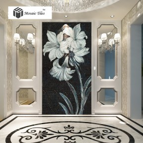 TST Mosaic Mural Black & White Lily Flower Parquet Modern Unique Wall Deco