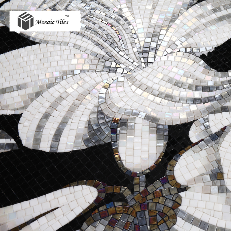 Tst Mosaic Mural Black Amp White Lily Flower Parquet Modern