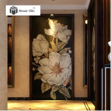 TST Mosaic Mural White Kapok Beautiful Flower Parquet Unique Design