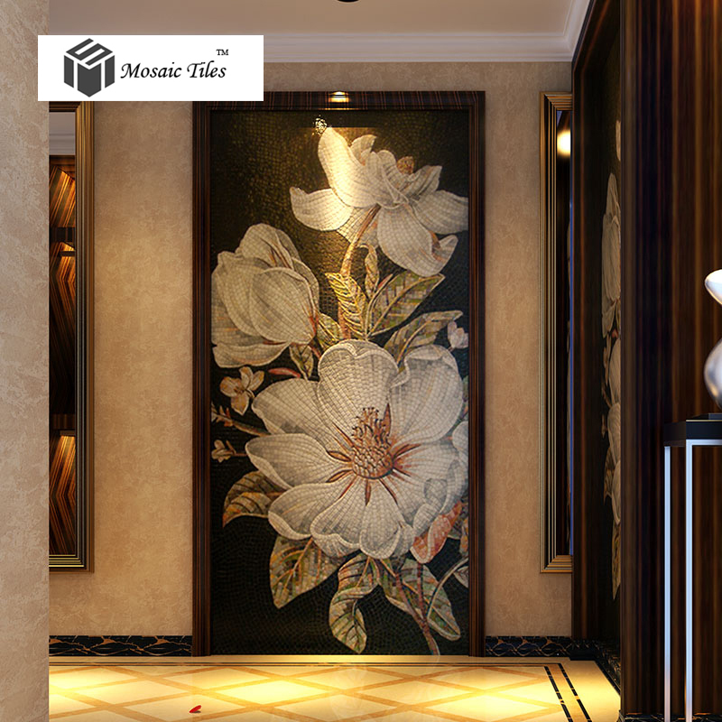 tst mosaic mural white kapok beautiful flower parquet unique design. Black Bedroom Furniture Sets. Home Design Ideas