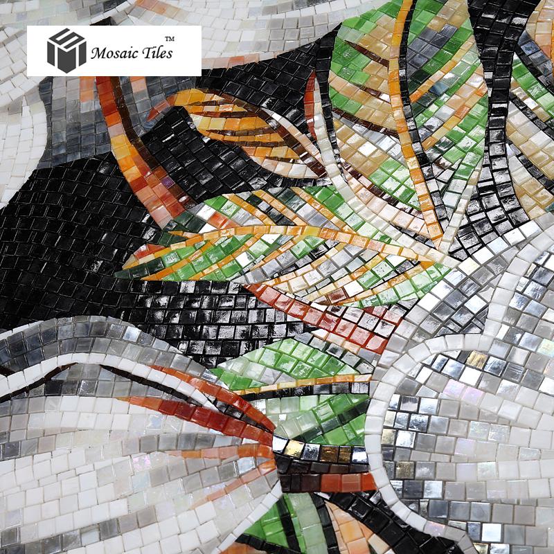 Tst Mosaic Mural White Kapok Beautiful Flower Parquet