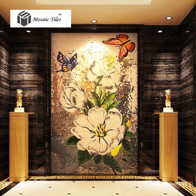Tst Mosaic Mural Flowers Amp Butterflies Elegant Home Hotel