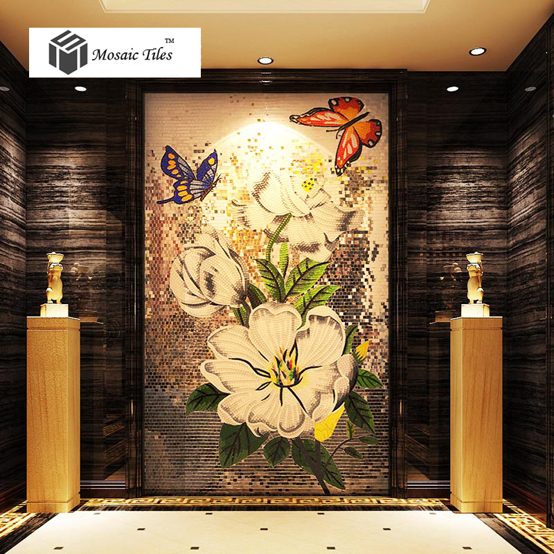 Tst mosaic mural flowers butterflies elegant home hotel for Art deco tile mural