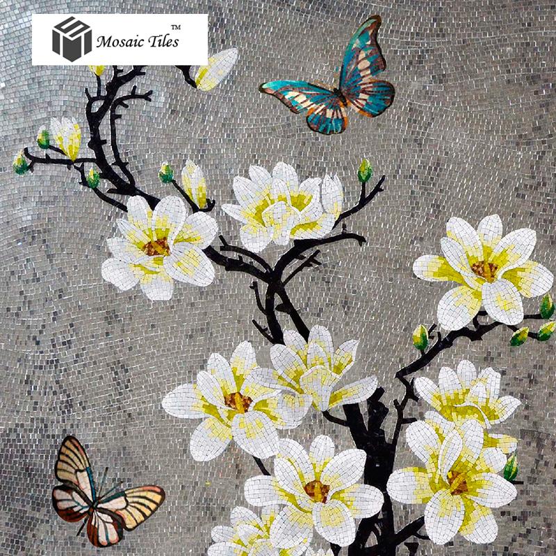 Art Décor: TST Mosaic Murals Gradient Color Jade Glass Butterfly