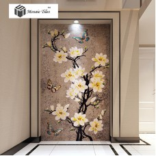 TST Mosaic Murals Gradient Color Jade Glass Butterfly Flowers Hand Made Mosaic Picture TSTBSM012