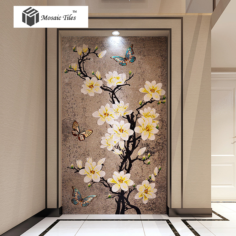 Tst mosaic murals gradient color jade glass butterfly for Mosaic tiles for craft
