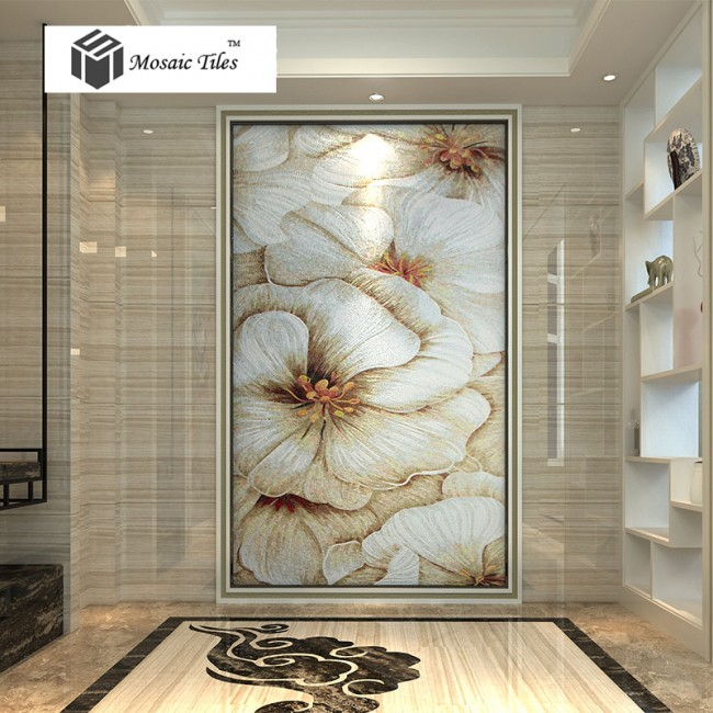 TST Jade Glass Mosaic Mural Tiles Bisazza Style Customized White Floral Mosaic Tile Home Wall Decor TSTBSM014