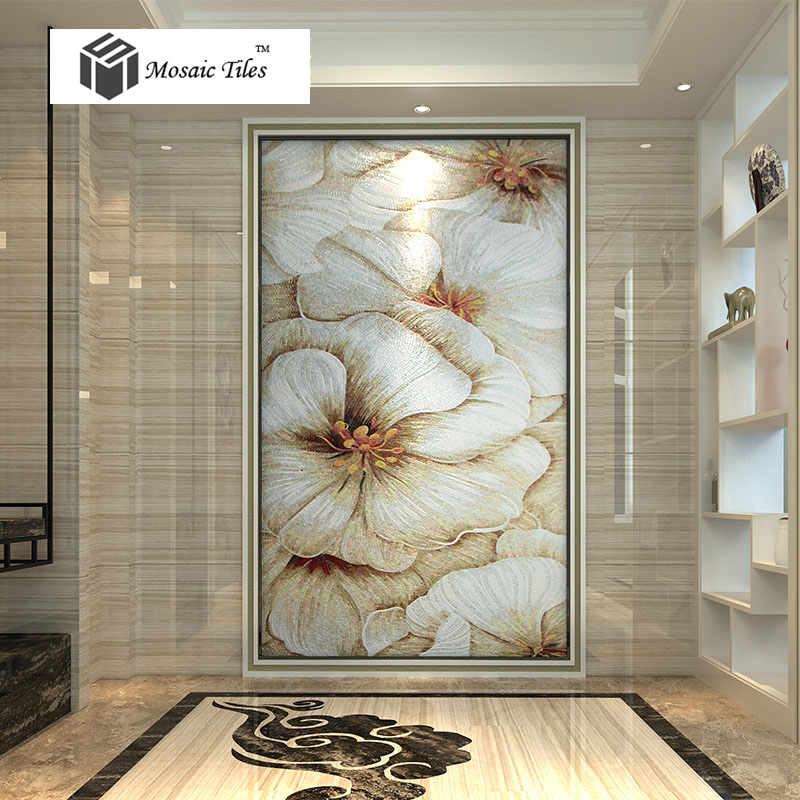 tst mosaic murals beautiful big white flower art home hotel wall deco. Black Bedroom Furniture Sets. Home Design Ideas