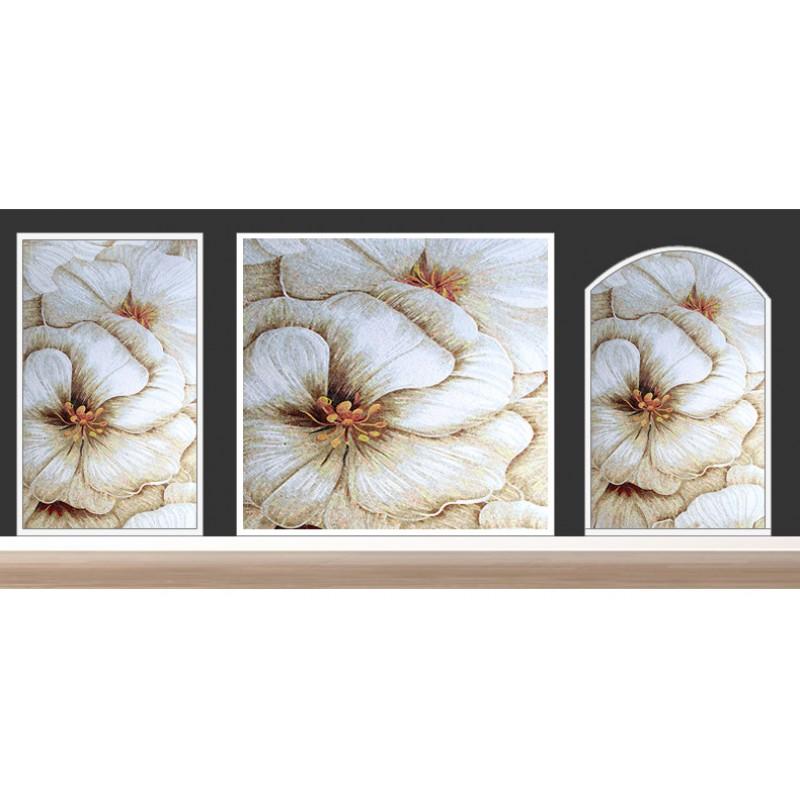 Art Décor: TST Mosaic Murals Beautiful Big White Flower Art Home