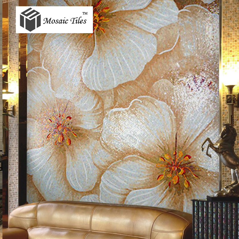 Tst mosaic murals beautiful big white pink flower home for Art deco tile mural