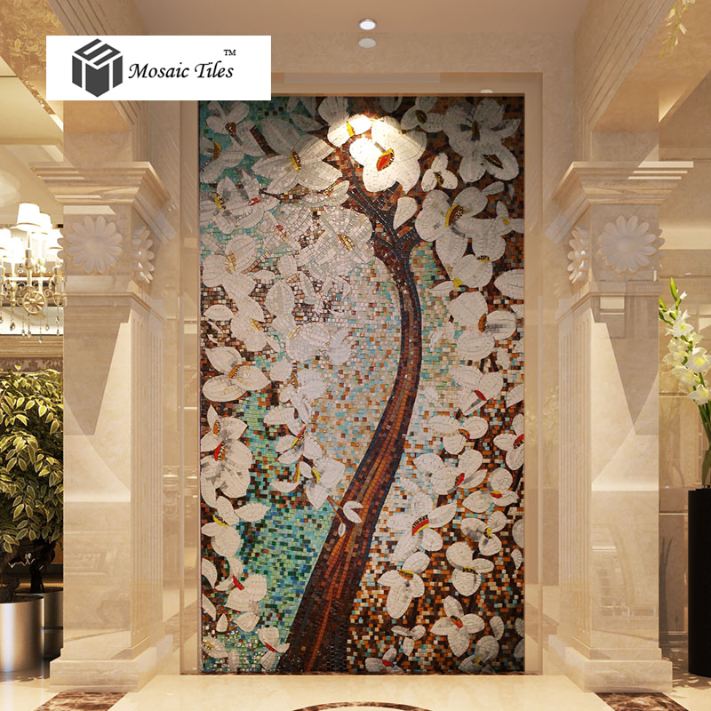 Tst Mosaic Murals Fortune Lucky Tree Colorful Wall Deco
