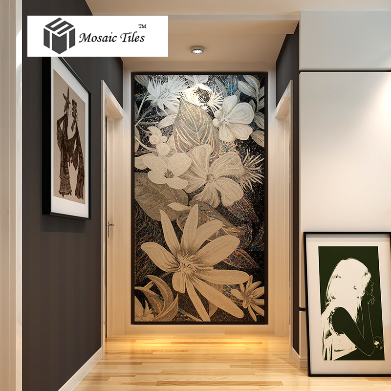 Tst mosaic murals black white flower handcraft unique for Art deco tile mural