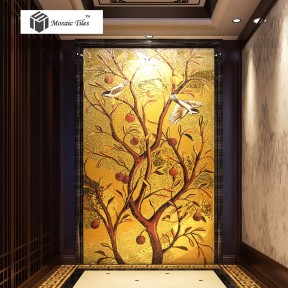 TST Mosaic Mural Golden Flower And Birds Customize Picture Art Parquet Mosaic