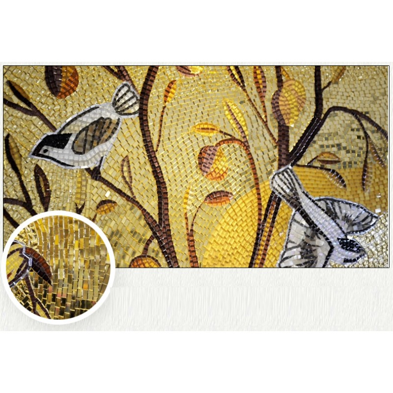 Mosaic Mural Golden Flower And Birds Customize Picture Art Parquet ...