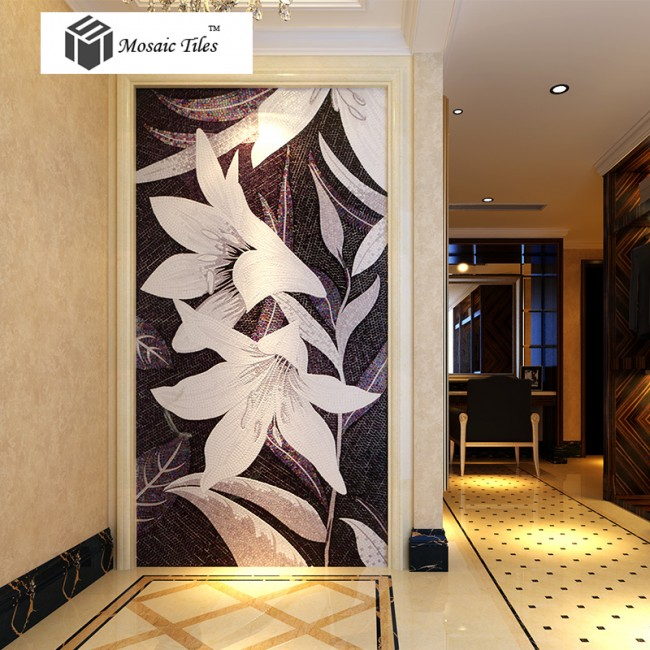 tst mosaic mural black white lily beautiful flower parquet modern art wall. Black Bedroom Furniture Sets. Home Design Ideas