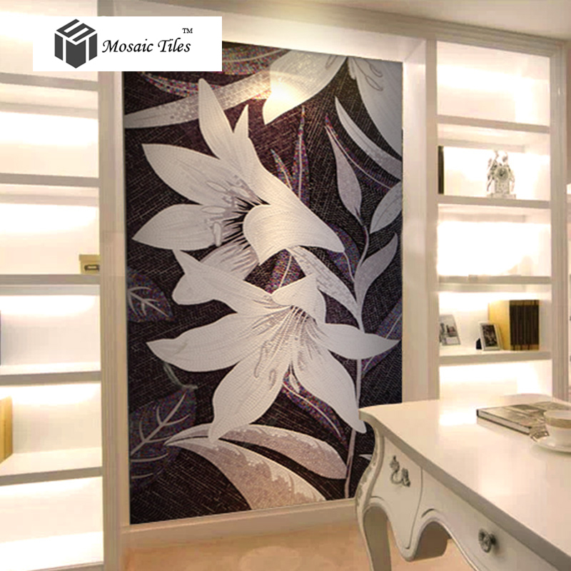 Tst mosaic mural black white lily beautiful flower for Art deco tile mural