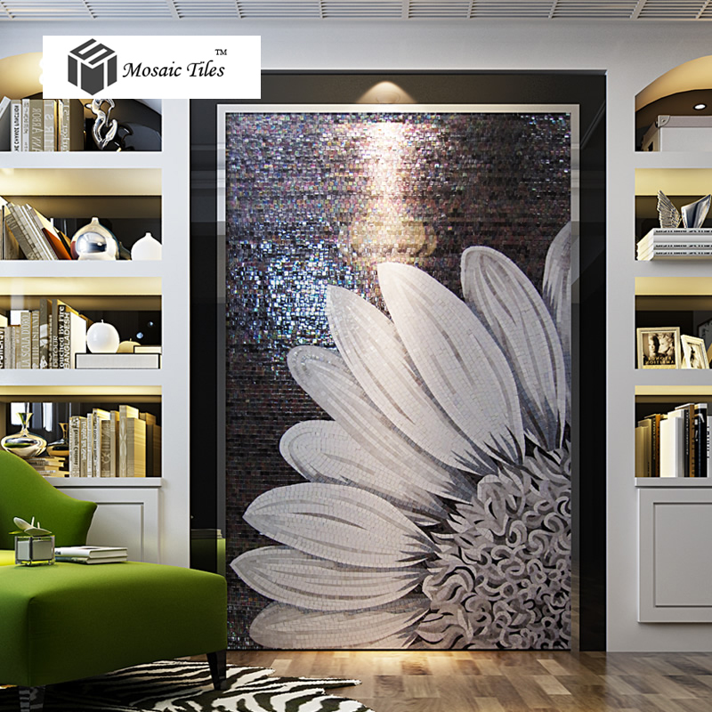 Tst Mosaic Mural Black Amp White Sunflower Modern Unique