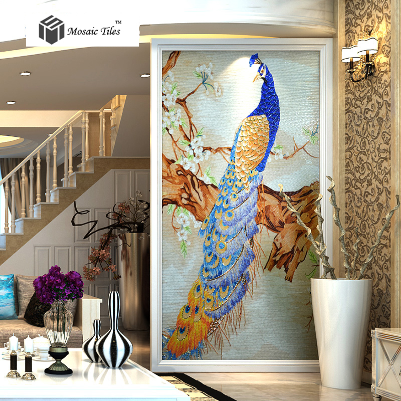 Art Décor: TST Mosaic Mural Crystal Glass Blue Peacock Elegant