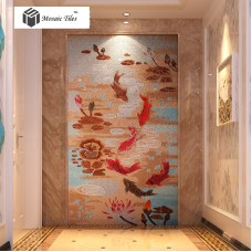 TST Mosaic Mural Red Goldfish Lotus Pond Crystal Glass Picture Wall Design