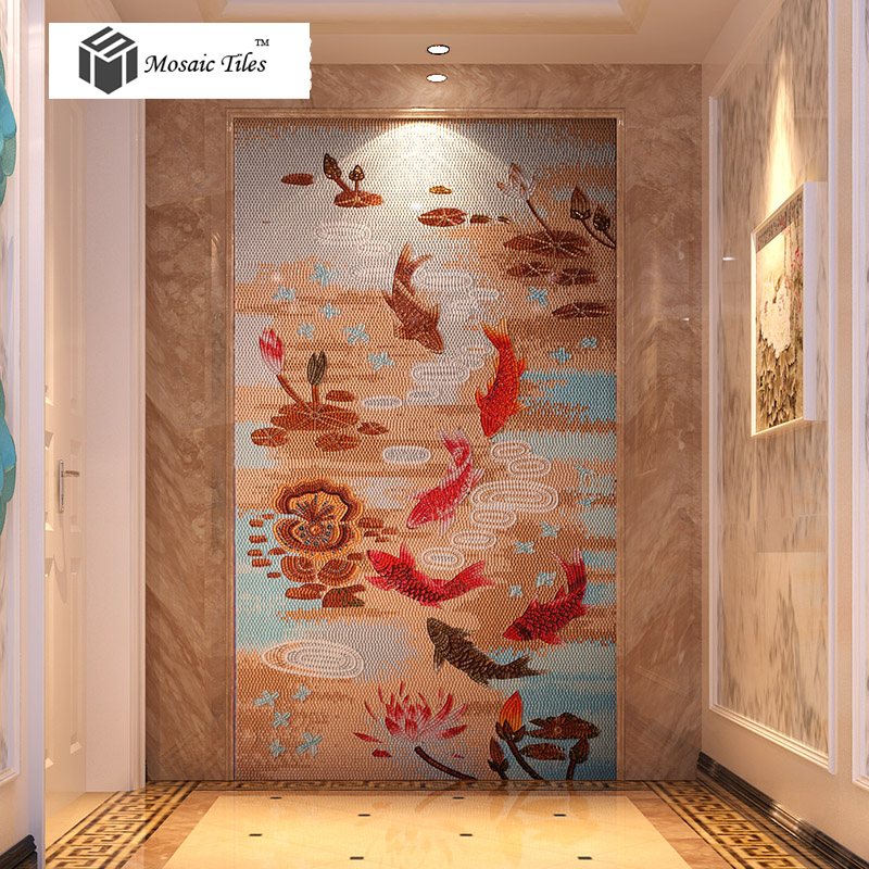 Tst Mosaic Mural Red Goldfish Lotus Pond Crystal Glass