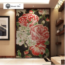 TST Mosaic Mural Red Peony Flower Blossom Handcraft Home Art Wall