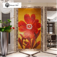 TST Mosaic Mural Red Big Flower Customized Art Design Unique Wall