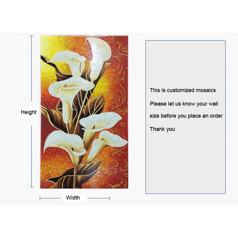 tst mosaic mural white calla lily flower parquet new design wall deco. Black Bedroom Furniture Sets. Home Design Ideas