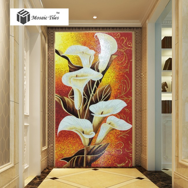 TST Mosaic Mural White Calla Lily Flower Parquet New Design Wall Deco