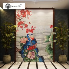 TST Mosaic Mural Nature Scenery Birds & Flowers Colorful Parquet Unique Design Hand Made Mosaic TIles
