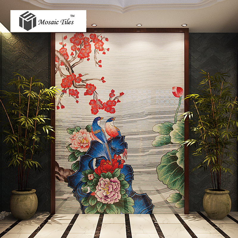 Tst Mosaic Mural Nature Scenery Birds Amp Flowers Colorful