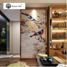 TST Mosaic Mural Nature Spring Birds Interior Art Wall Parquet Design