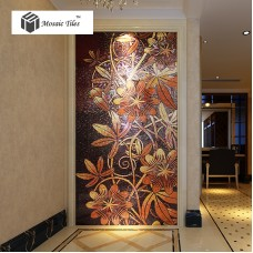 TST Mosaic Mural Nature Flower Vines Red & Black Shinning Crystal Unique Interior Wall Deco