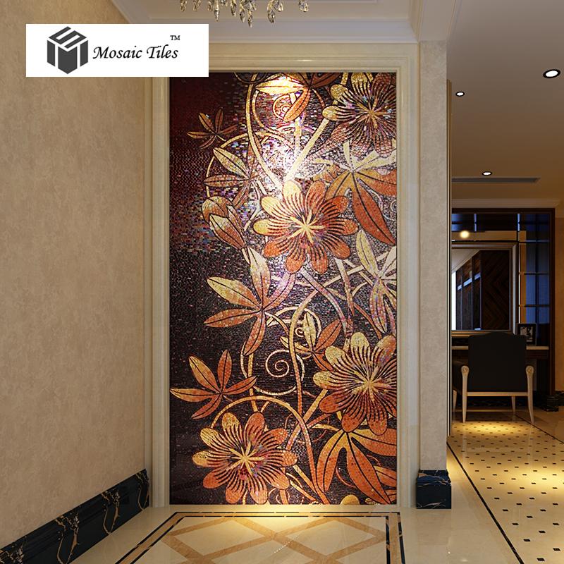 Tst Mosaic Mural Nature Flower Vines Red Amp Black Shinning