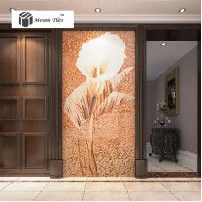 TST Mosaic Mural White Calla Lily Flower Parquet Pattern Art Wall Picture