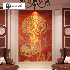 TST Mosaic Mural Red & Golden Big Flower Sketch Unique Art Design Crystal Glass Mosaics
