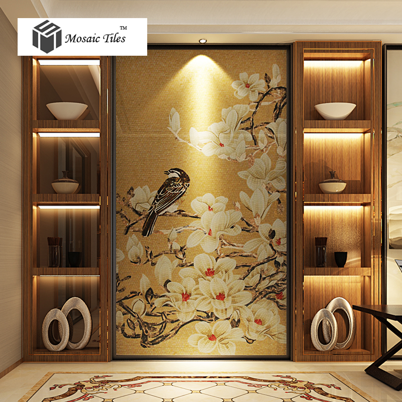 Tst Mosaic Mural Yellow White Flower Birds Handcraft Customized Art Wall