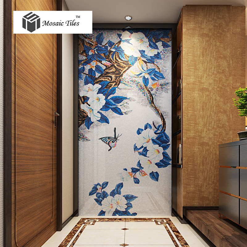 Tst Mosaic Mural Blue Leaves White Flower Butterfly Living