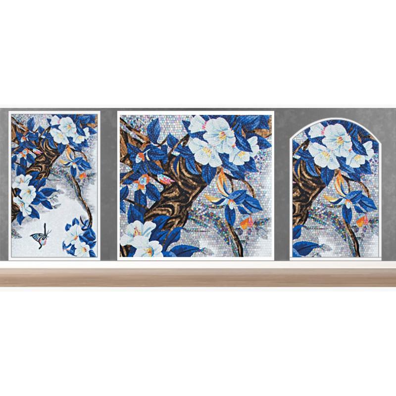 Tst mosaic mural blue leaves white flower butterfly living for Mural mosaic