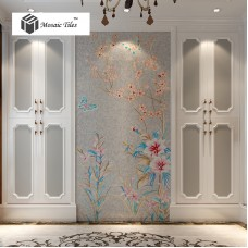 TST Mosaic Mural Simple Elegant Flower Butterfly Home Hotel Shinning Crystal Picture