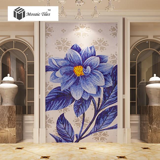 Art Décor: TST Mosaic Mural Jade Glass Sea Blue Big Flower Home Hotel