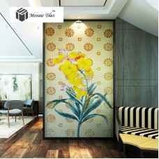 TST Mosaic Mural Yellow Hibiscus Flower Fireplace Livingroom Wall Deco Jade Glass Picture