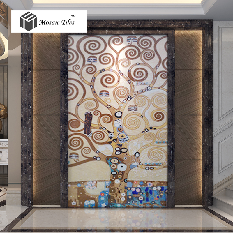Tst mosaic mural chocolate coffee color lucky tree studio for Art deco tile mural