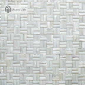 TST Mother Of Pearl Tiles White Arch Bridge Glittering Fresh Water Shell Tile Mesh Mounted