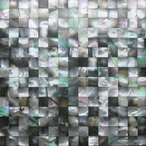 TST Black Lip Mother Of Pearl Tile Black Silver Green Squared 4/5'' Chips Deapwater Seashell Pad Tile
