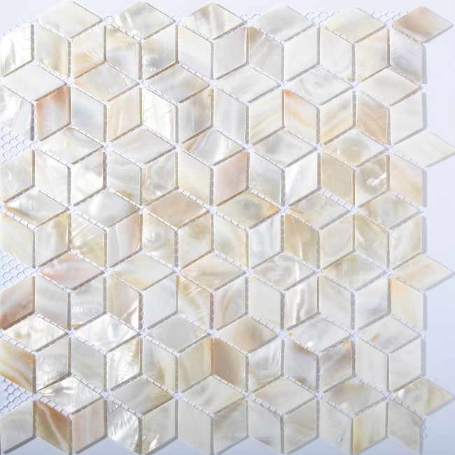 TST Freshwater Shell Slice Tiles Seam Diamond Natural White Shell Bathroom & Living Room Mosaic Decor Art